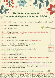 Kalendarz wydarzeń przedszkolnych - marzec 2020